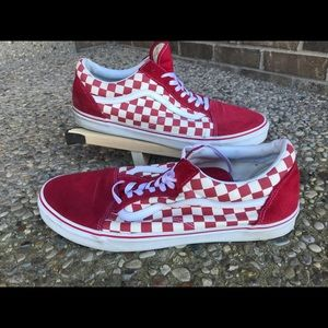 Vans Old Skool Red White Checkerboard Shoe Mens 15